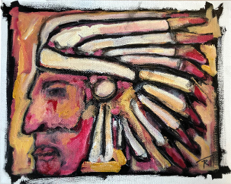 Iron Eyes Cody (with Red Tear) original painting